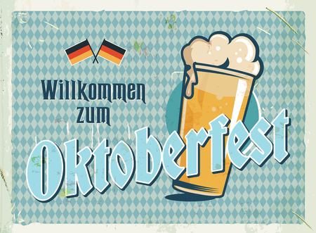 Grunge retro metal sign with Oktoberfest illustration. German beer festival. Vintage poster with beer glass and typography label. Old fashioned design.