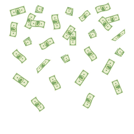illustration cartoon paper money falling on a white background. Flying banknotes money.