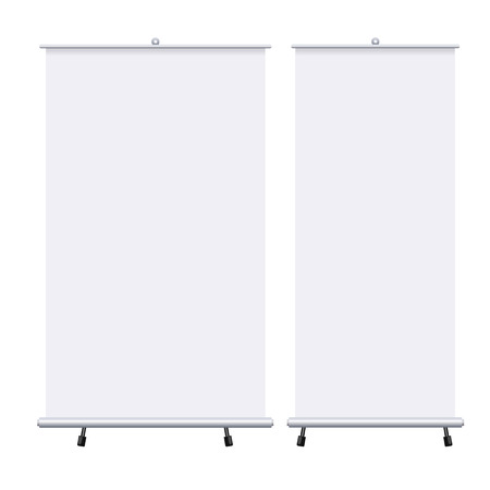 Blank roll up banners set isolated on the white background. Design template blank pop up banner for presentation, corporate training and briefing. mockup.