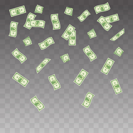 illustration paper money falling on a transparent background. Flying banknotes money set.