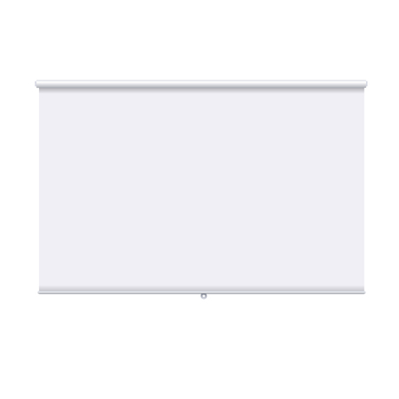 Horizontal roll up banner isolated on the white background. Design template of the projector screen. White roll up banner for presentation, corporate training and briefing. mockup. Banco de Imagens
