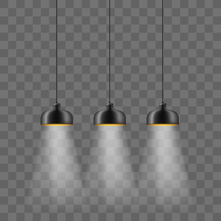 Modern black metallic lamp-shade electric illumination set. Loft ceiling lights isolated on the transparent background. Minimalistic interior design. Stok Fotoğraf