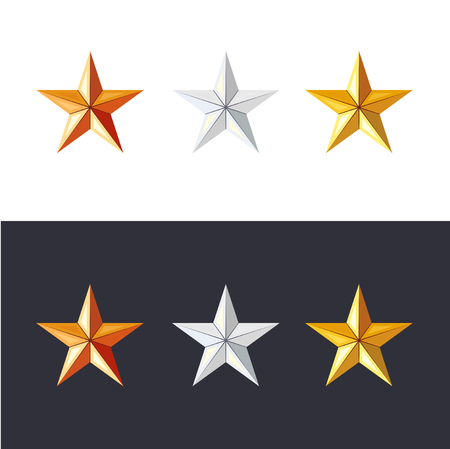 Golden, silver and bronze stars set. Game achievements and awards. 3d style . Rank icons.