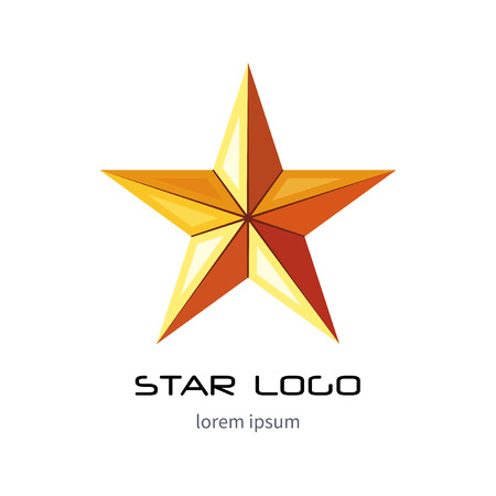 Golden star logo template. Yellow millitary icon. 3d style . Imagens