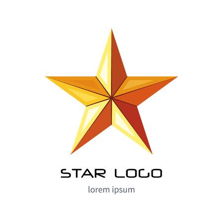 Golden star logo template. Yellow millitary icon. 3d style . Banco de Imagens