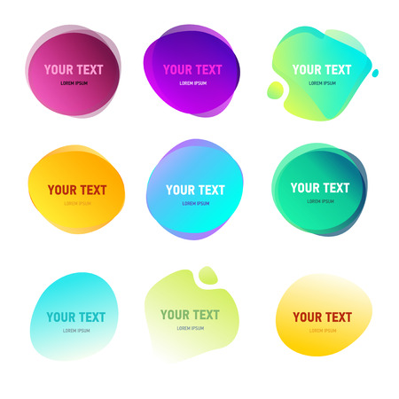 Abstract round shapes for your text. Gradient vivid colors effect. Duotone style circles. Logo elements.
