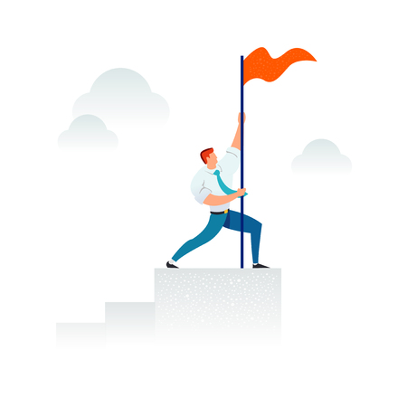 Strong businessman holding a red flag on top of the column graph. Business concept of leadership, success, victory, goal, achievement. Modern trendy illustration.