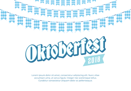 Oktoberfest banner. Clean background with Oktoberfest logo and blue checkered buntings. Munich beer festival card.