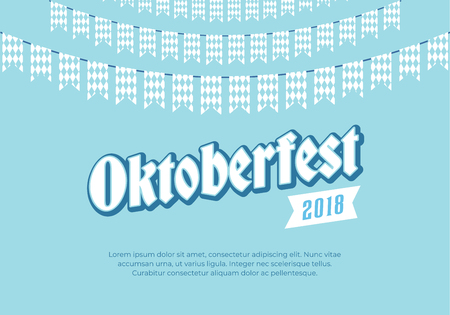 Oktoberfest banner. Clean background with Oktoberfest logo and blue checkered buntings. Munich beer festival card