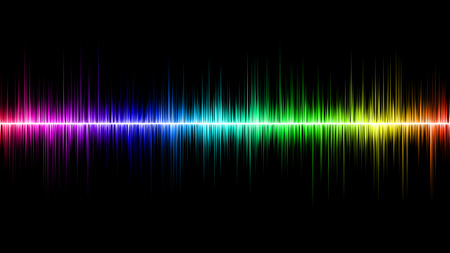soundwave: Rainbow Soundwave with Black Background Stock Photo