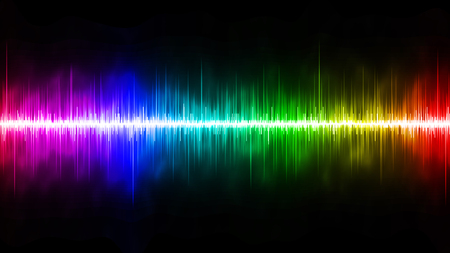 soundwave: Rainbow Soundwave with Black Background Stock Photo
