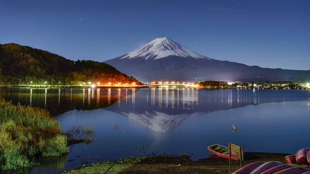 Fuji-san Reflection with Fujikawaguchiko Town Light at Kawaguchiko Lake, Yamanashi, Japan