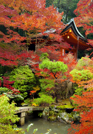 Red Japanese Bell Tower in Red Maple Trees  in Autumn at Bishamondo Temple, Kyoto, Japan