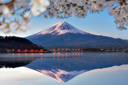 Fuji Mountain Reflection en Sakura-takken bij Kawaguchiko Lake, Japan Stockfoto