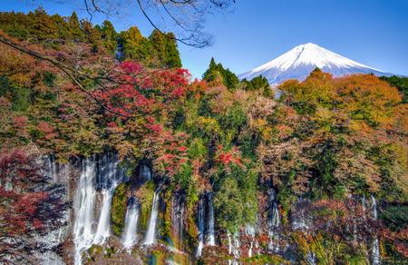 Fuji Mountain and Shiraito Fall at Fujinomiya, Japan