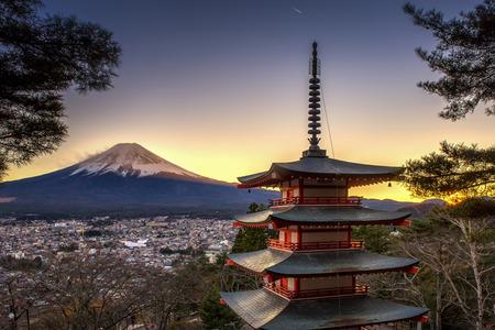 fuji Mountain and Chureito Pagoda at Twilight Time, Japan