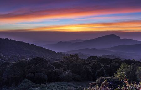 View Point on Inthanon Mountain with Colourful Sky at Twilight Time, Chiangmai, Thailand