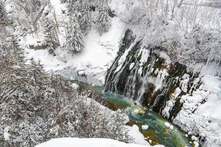 Shirogane Waterfall in Winter, Biei, Hokkaido, Japan