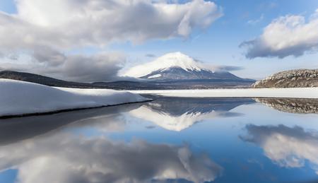 Fuji Mountain Reflection in Winter at Yamanakako Lake, Japan