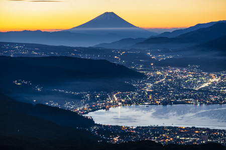 Fuji Mountain and Suwa Lake in Autumn at Sunrise, Nagano, japan