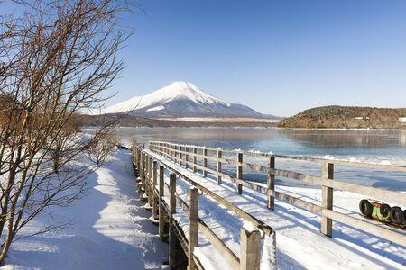 Fuji Mountain in Winter at Lake Yamanakako, Japan