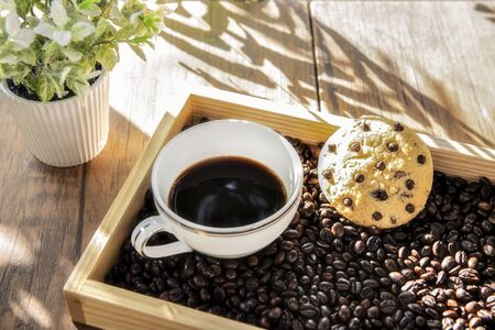 A Cup of Coffee on the Coffee Bean Tray with Cookie at Coffee Break Time
