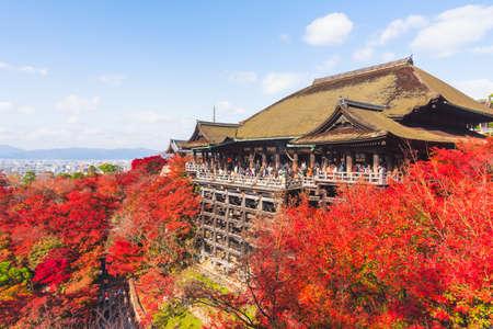 Kiyomizu-dera Temple in autumn on sunset ,Kyoto, Japan - stock photo Editorial