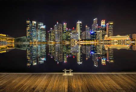 Light of Marina Bay and Singapore City at Night Editorial
