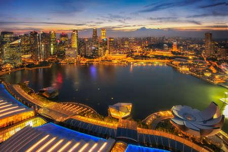 Singapore city and Marina Bay at Twilight time