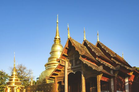 Great Golden Pagoda of Wat Phra Singh Temple in the Morning, Landmark of Chiangmai, Thailand