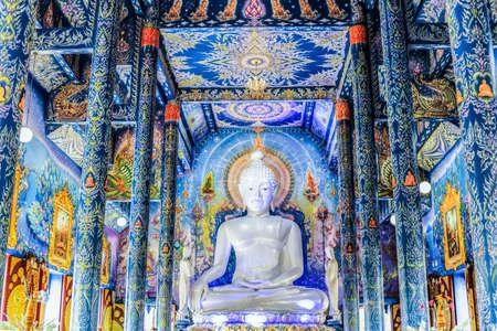 Big White Buddha Statue in Main Blue Chapel of Wat Rong Suea Ten Temple, Chiangrai, Thailand Editorial