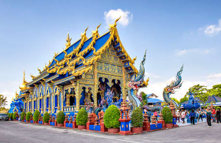 Main Blue Chapel of Wat Rong Suea Ten Temple, Chiangrai, Thailand