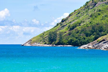 Laem Krating Cape with Turquoise Andaman Sea at Phuket Island in Summer, Thailand Foto de archivo