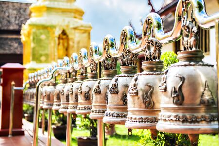 Row of Bronze Bell at Wat Phra Singh Temple, Chiangmai, Thailand