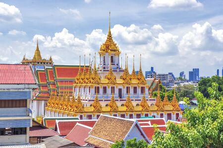 Grand Golden Pagoda Loha Prasart at Wat Ratchanadda Temple, Tourist Destination of Bangkok, Thailand