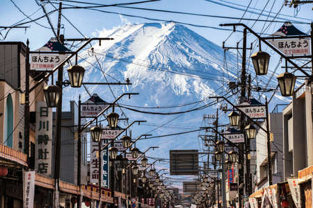 Fuji-Michi Street is one of the most famous Street for Fuji Mountain Sightseeing with Shimoyoshida Town Foreground, Shimoyoshida, Yamanashi