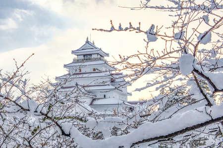 Tsuruga Castle covered with Snow in Winter, Aizu Wakamatsu, Fukushima