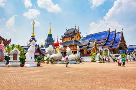 Tourists enjoy sightseeing Grand Pagoda and Main Hall of  Wat Baan Den Temple, Chiangmai, Thailand Editorial