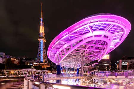Japan - November 21, 2019 : Illumination of Oasis 21 Building and Nagoya Tower at Autumn Night, Nagoya