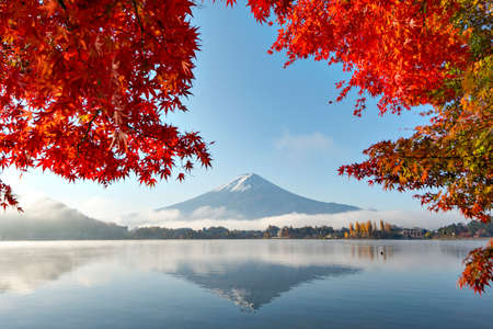 Fuji Mountain Reflection with Red Maple Leaves and Morning Mist in Autumn at Kawaguchiko Lake, Japan