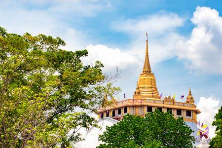 Golden Pagoda at Wat Golden Mount Temple, Landmark of Bangkok, Thailand