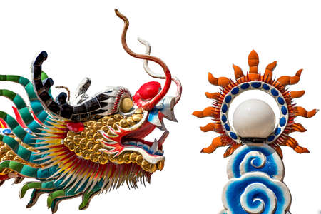ColorfulColorful chinese dragon isolated on white background Foto de archivo - 153423689