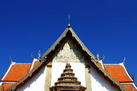 Front of temple in northern Thailand Stock Photo