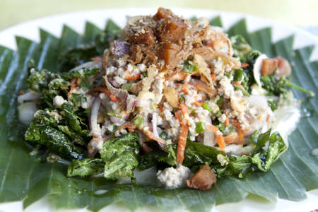 Thai dressed salad with pork and green herb Stock Photo