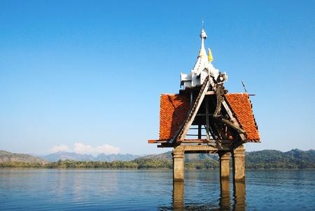 sangkhla buri: The sunken temple, a famous landmark in Sangkhla Buri District, Kanchanaburi, Thailand