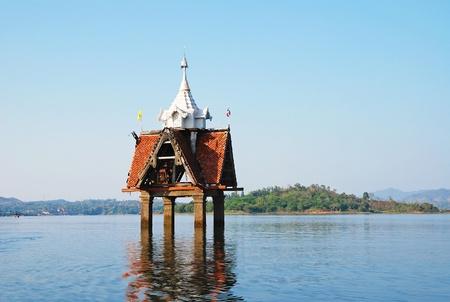 the sunken: The sunken temple, a famous landmark in Sangkhla Buri District, Kanchanaburi, Thailand