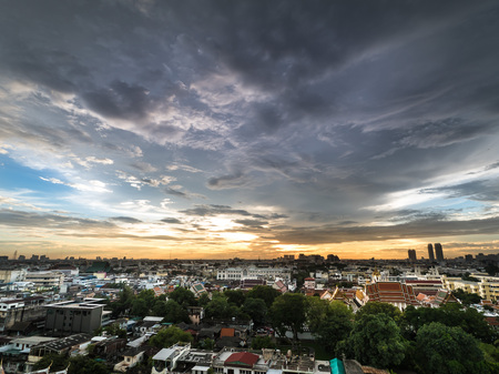 City scape in twilight and wonderful clody sky nearly sunset time. Stock Photo