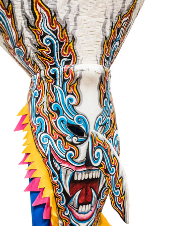 A traditional ghost mask made from sticky rice cooker and paint with vivid color.