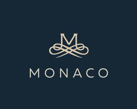 Abstract monogram elegant flower icon vector design. Universal creative premium letter M initials ornate signature symbol. Graceful vector sign.