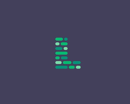 l first: Abstract letter L   design template.  Dynamic code vector unusual font. Universal fast speed moving dots atoms blocks color symbol. Flow structure energy data activity Illustration